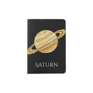 Saturn Planet Watercolor Passport Cover