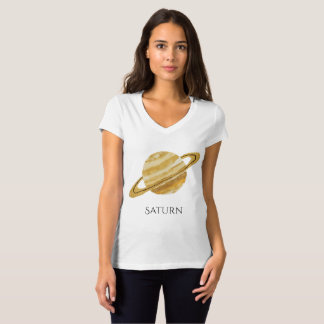 Saturn Planet Watercolor V-Neck T-Shirt