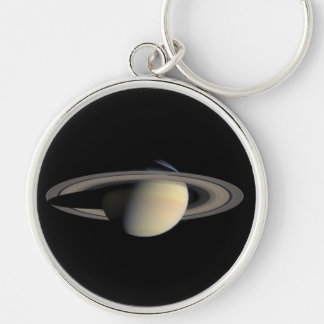 Saturn planet with rings around it Silver-Colored round key ring