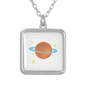 Saturn Square Pendant Necklace