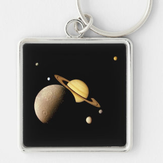 SATURN SYSTEM MONTAGE (solar system) ~ Silver-Colored Square Key Ring