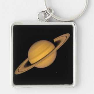 SATURN v.1 (solar system) ~ Silver-Colored Square Key Ring