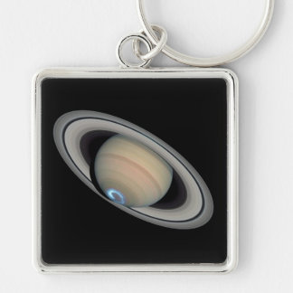 SATURN v.3 (solar system) ~ Silver-Colored Square Key Ring