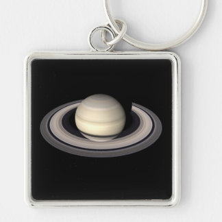 SATURN v.4 (solar system) ~ Silver-Colored Square Key Ring