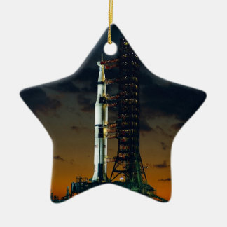 Saturn V Space Rocket Launch Christmas Ornament