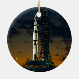 Saturn V Space Rocket Launch Round Ceramic Decoration