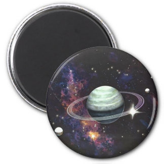 Saturn with Rings 6 Cm Round Magnet
