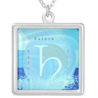 Saturn Zodiac Symbol Personalized Necklace