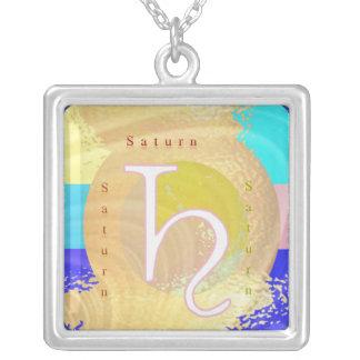 Saturn Zodiac Symbol Necklace