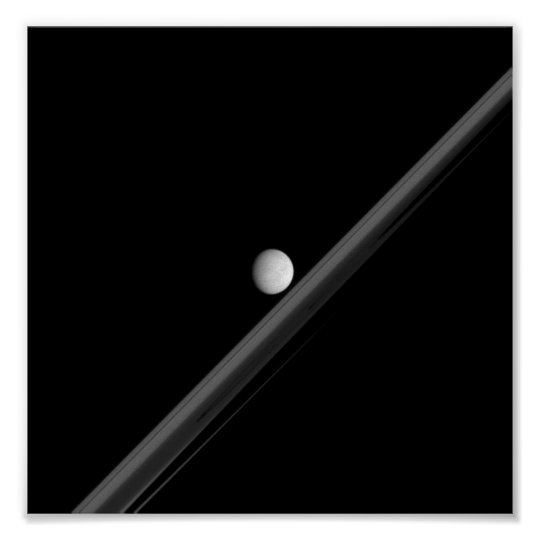 Saturnian Moon and Rings Poster