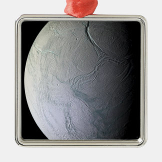 Saturn's moon Enceladus Silver-Colored Square Decoration