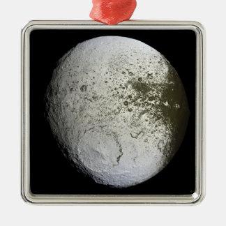Saturn's moon Iapetus 2 Silver-Colored Square Decoration