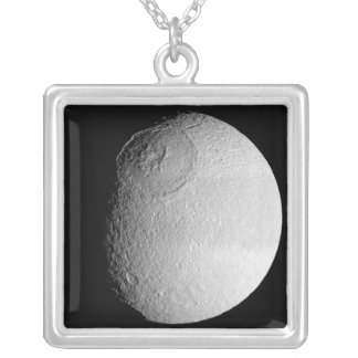 Saturn's moon Tethys 2 Silver Plated Necklace