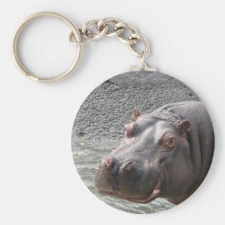 Saucy Hippo! Basic Round Button Key Ring