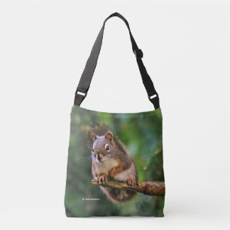 Saucy Red Squirrel in the Fir Crossbody Bag