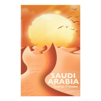 Saudi Arabia By Air travel poster Stationery