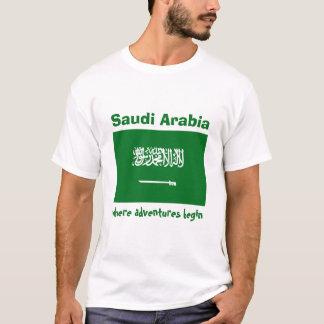 Saudi Arabia Flag + Map + Text T-Shirt