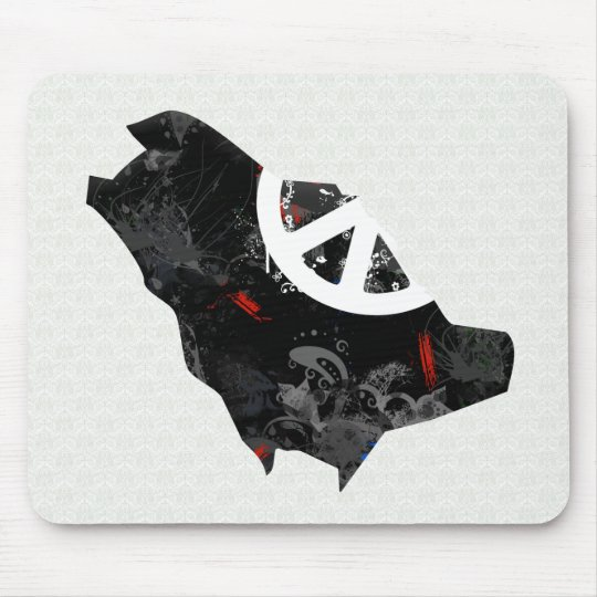 Saudi Arabia Trendy Peace Sign with Saudi map Mouse Mat