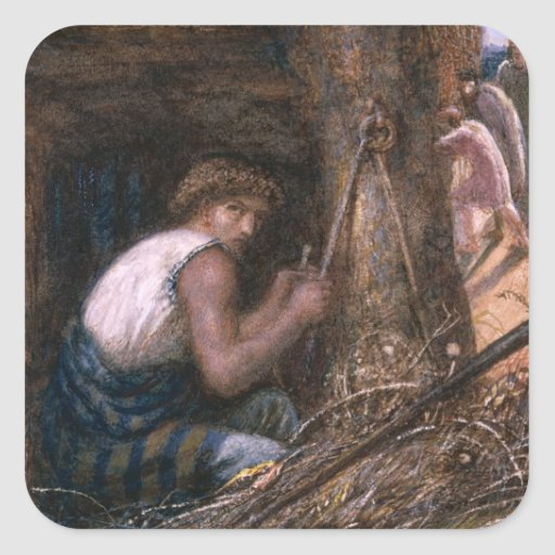 Saul Hiding among the Stuff, 1866 Square Sticker