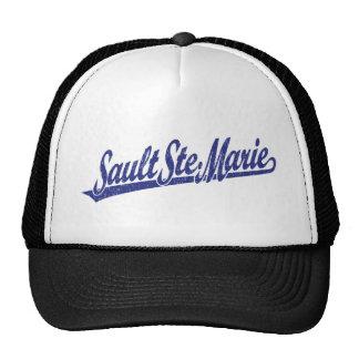 Sault Ste. Marie script logo in blue distressed Mesh Hats