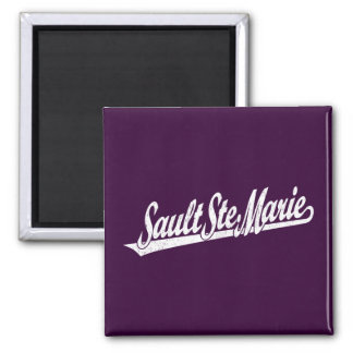 Sault Ste. Marie script logo in white distressed Fridge Magnets