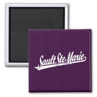 Sault Ste. Marie script logo in white Square Magnet