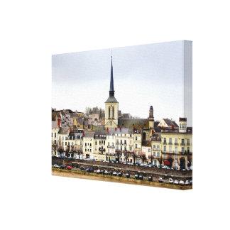 Saumur River Bank Scene Canvas Print
