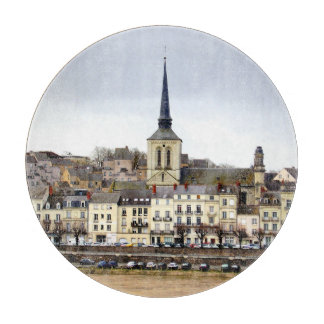 Saumur River Bank Scene Glass Chopping Board