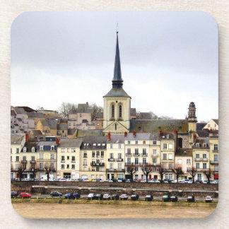 Saumur River Bank Scene Hard Plastic Coasters