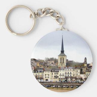 Saumur River Bank Scene Key Ring