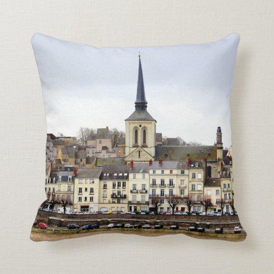 Saumur River Bank Scene Throw Pillow