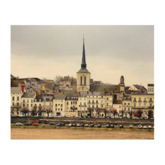 Saumur River Bank Scene Wood Wall Art