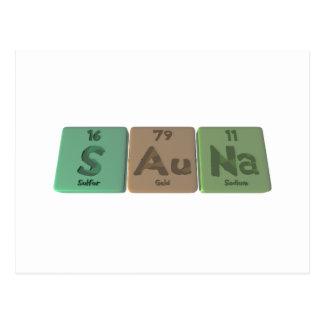 Sauna-S-Au-Na-Sulfur-Gold-Sodium png Postcard