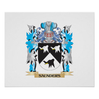 Saunders Coat of Arms - Family Crest Poster