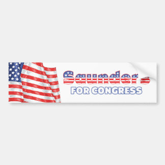 Saunders for Congress Patriotic American Flag Car Bumper Sticker