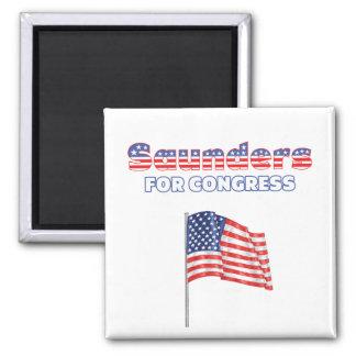 Saunders for Congress Patriotic American Flag Square Magnet