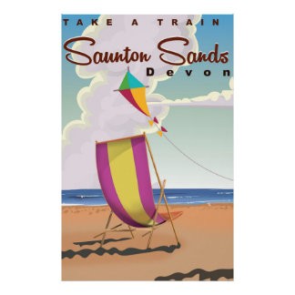 Saunton Sands Devon vintage travel poster