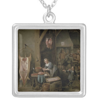 Sausage-making, 1651 silver plated necklace