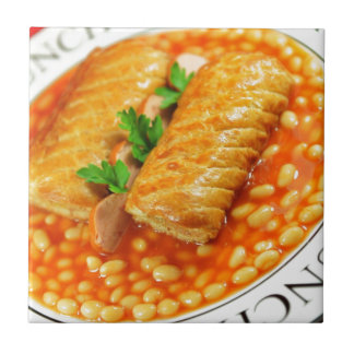 Sausage rolls and baked beans small square tile