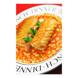 Sausage rolls and baked beans stationery paper