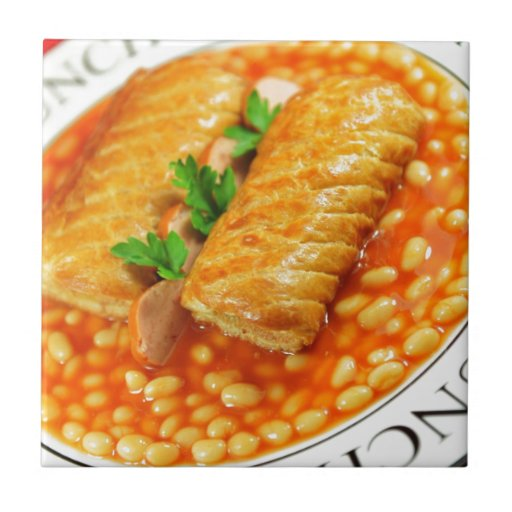 Sausage rolls and baked beans tiles
