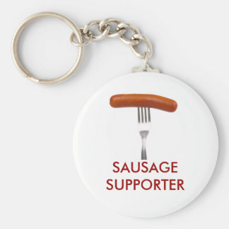sausage stuck in fork basic round button key ring