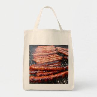 sausages grocery tote bag