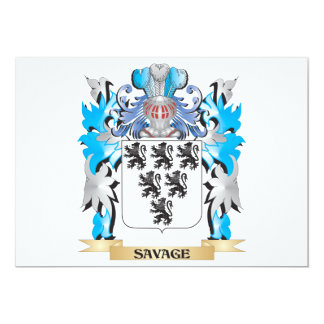 """Savage Coat of Arms - Family Crest 5"""" X 7"""" Invitation Card"""