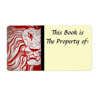 Savage Woodcut Lion Print Book Label Shipping Label