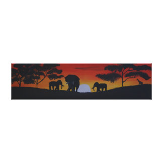 Savanna with elephant canvas print