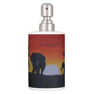 Savanna with elephants bath accessory sets