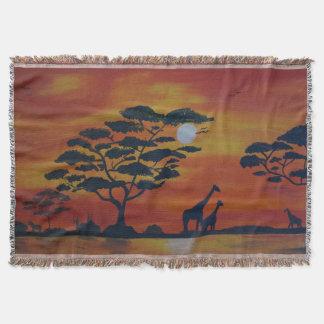 Savanna with giraffe throw blanket