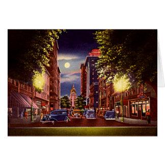 Savannah, Georgia Bull Street at night Card