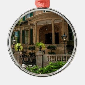Savannah Georgia Victorian Historical House 2 Silver-Colored Round Decoration